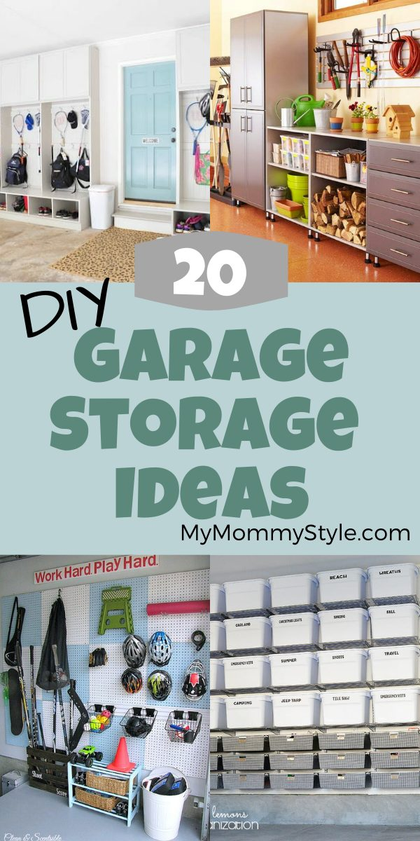 Get organized with these diy garage storage ideas. Here are 20 ways to optimize your space and make your garage as functional as possible. #diygaragestorageideas #howtooragnizeyourgarage #garageorganization via @mymommystyle