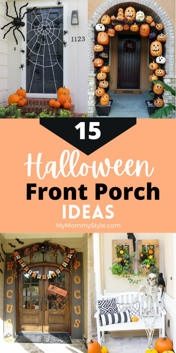 Decorate your home with these Halloween front porch ideas. Get some inspiration with these fifteen different designs to create your own look. #Halloweenfrontporchideas #Halloweenporchdecor #Halloweendecorations #Halloween via @mymommystyle