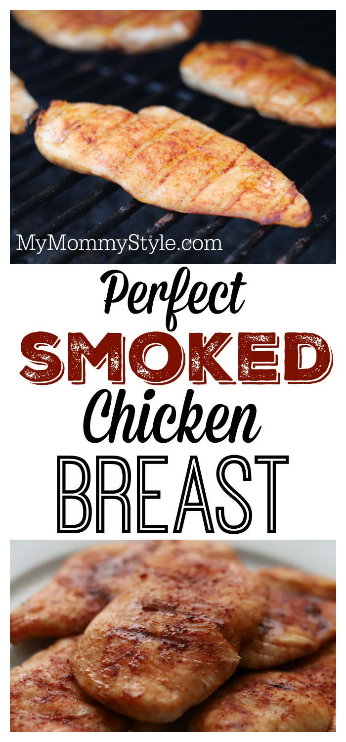 Learn how to smoke a chicken breast perfectly! The smoky flavor combined with the juiciness of this Traeger chicken breast will keep you asking for more. via @mymommystyle