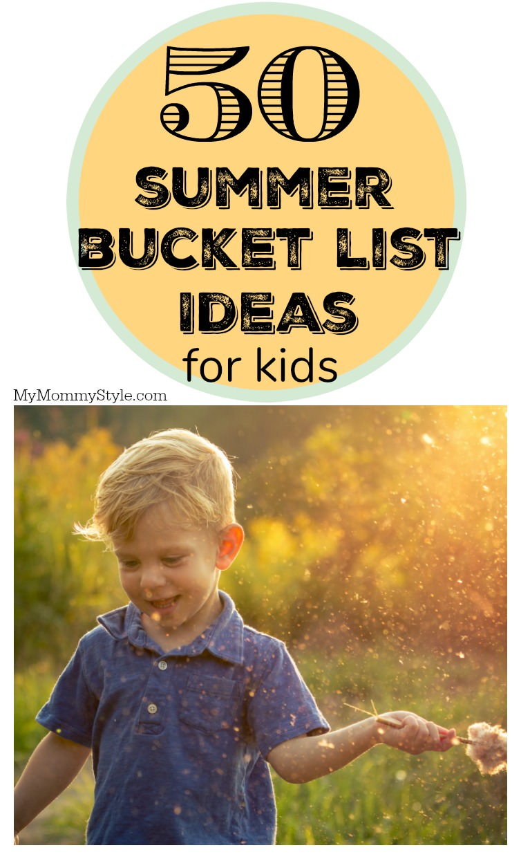 """Make """"I'm bored"""" a thing of the past! Print and share this summer bucket list for kids complete with 50 ideas to have endless amounts of fun this summer. via @mymommystyle"""