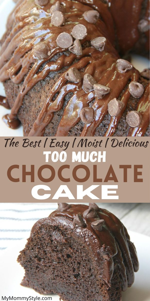 Simplicity at its finest, this too much chocolate cake is rich, moist and irresistible. Impress your friends and family with this decadent chocolate beauty. #thebesttoomuchchocolatecake #toomuchchocolatecake #chocolatecake #chocolate #yummydessert #dessert via @mymommystyle