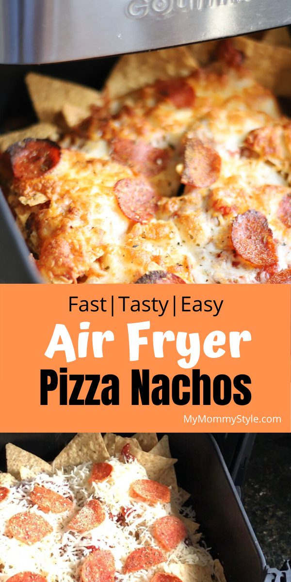 Get the best of both worlds with pizza and nachos in these Air Fryer Pizza Nachos. The perfect combo of flavors to make as an appetizer or an easy dinner. via @mymommystyle