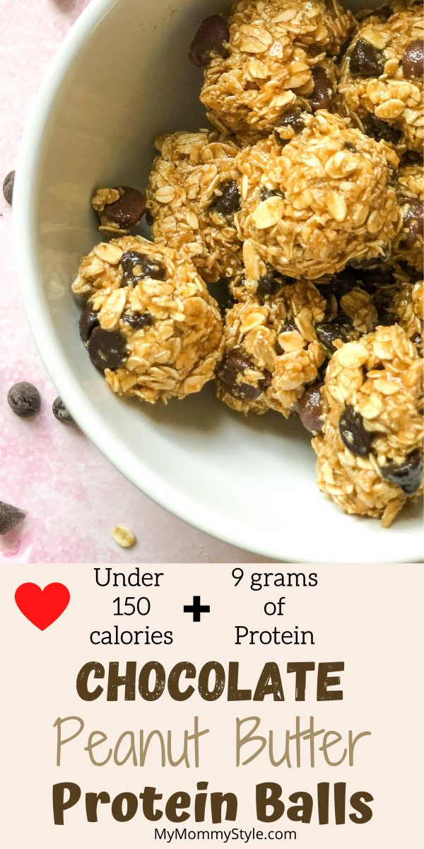 Easy Chocolate Peanut Butter Protein Balls are the perfect healthy and satisfying treat. Under 150 calories and packed with 9g of protein! #chocolatepeanutbutterproteinballs #peanutbutterproteinballs via @mymommystyle