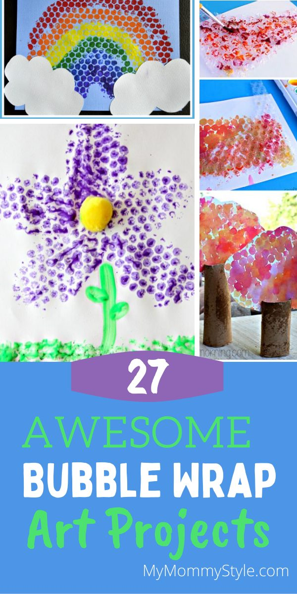 Kids can't resist the fun of bubble wrap and crafting. Take a look at these twenty seven bubble wrap art ideas we put together for you. #kidscrafts #bubblewrapart #bubblewrapcrafts #crafts #bubblewrapcrafts via @mymommystyle