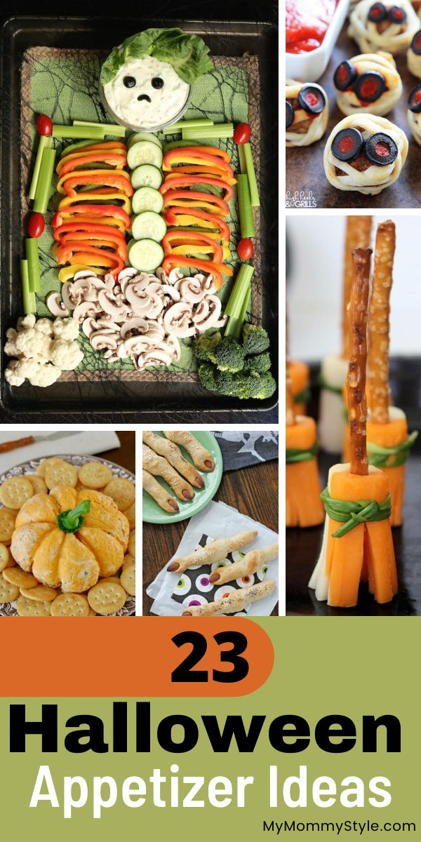 Here are twenty three of the cutest, spookiest and tastiest Halloween appetizer ideas. Delight your guests at your next Halloween party! #halloweenappetizerideas #easyhalloweenappetizers #halloweenparty via @mymommystyle