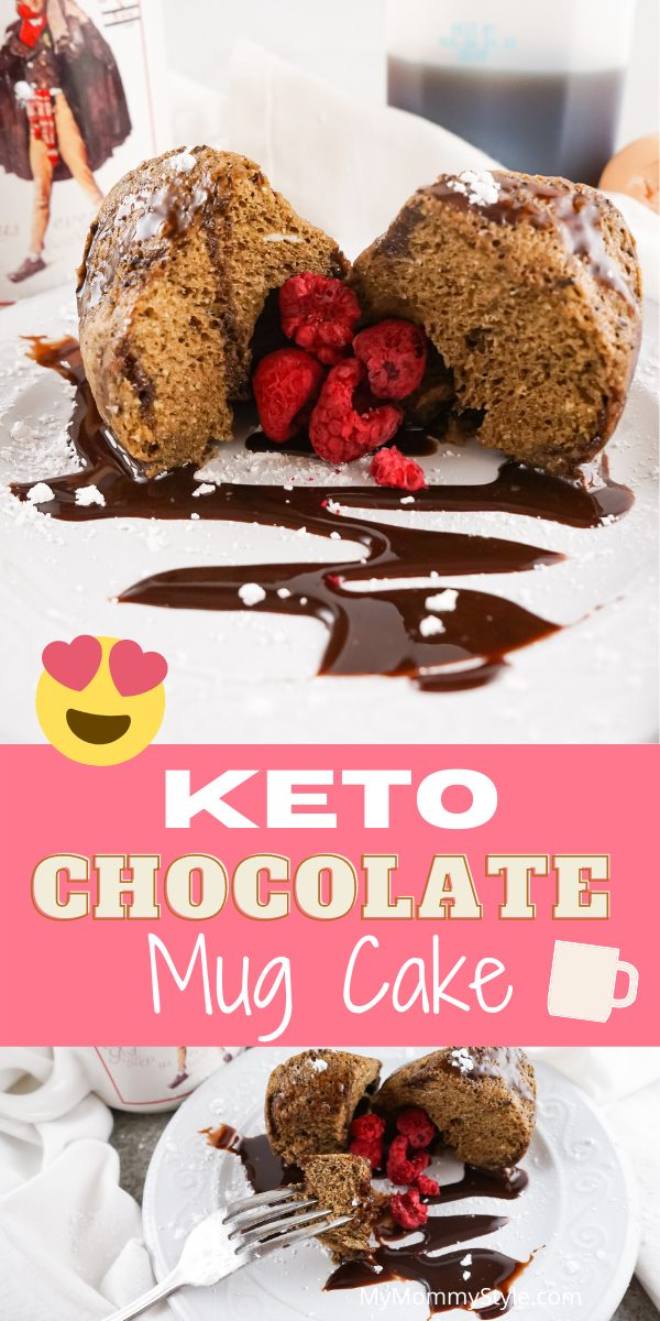 Keto Chocolate Mug Cake makes the perfect quick and healthy sweet treat. In less than 5 minutes, you'll have a ready to eat low carb dessert. #ketochocolatemugcake #ketodessert #lowcarbdessert via @mymommystyle