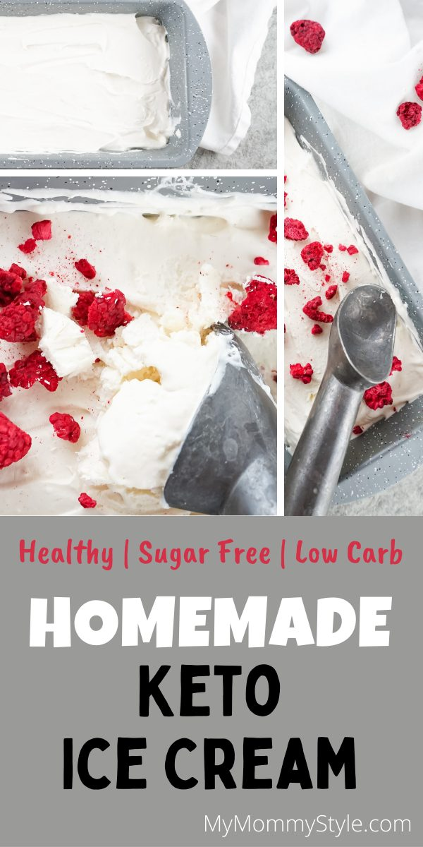 Curb your cravings for sweets with this guilt-free Homemade Keto Ice cream. A classic, creamy vanilla dessert made with only 4 ingredients. #homemadeketoicecream #ketoicecream #ketodessert via @mymommystyle