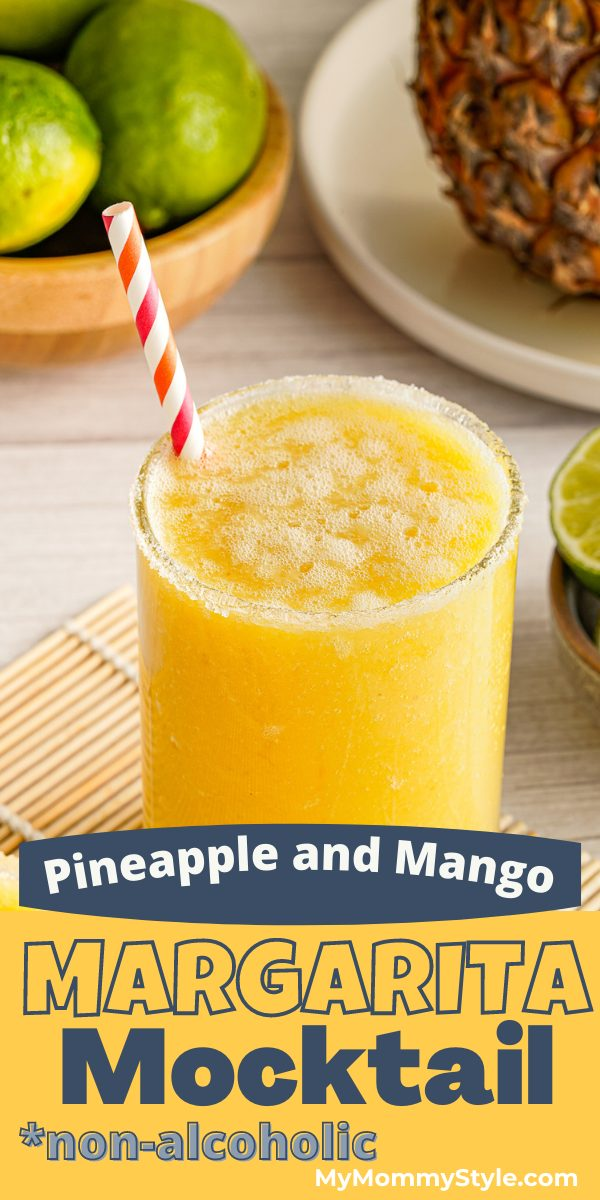 Fresh pineapple, mango and lime juice are blended together for this margarita mocktail. A refreshing non-alcoholic beverage for any warm day! #margaritamocktail #mocktails #nonalcoholicdrinks via @mymommystyle