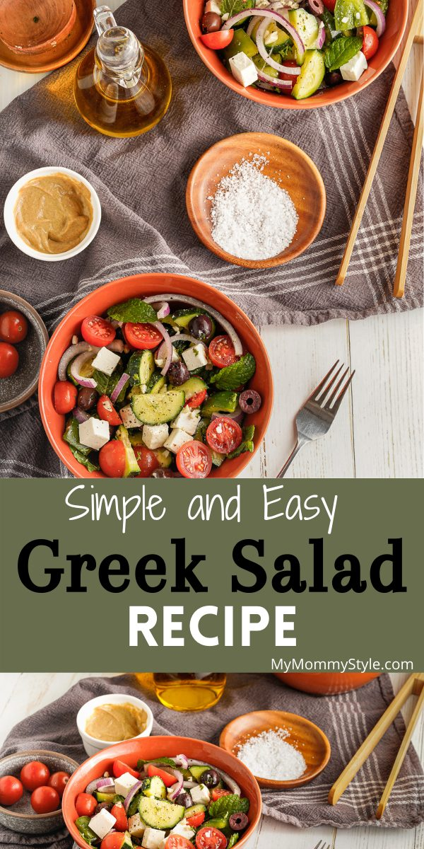 Cucumbers, feta, tomatoes, onions, peppers and olives come together to create this delicious and easy Greek salad recipe. #easygreeksalad #simplegreeksalad #easygreeksaladrecipe #greeksalad via @mymommystyle