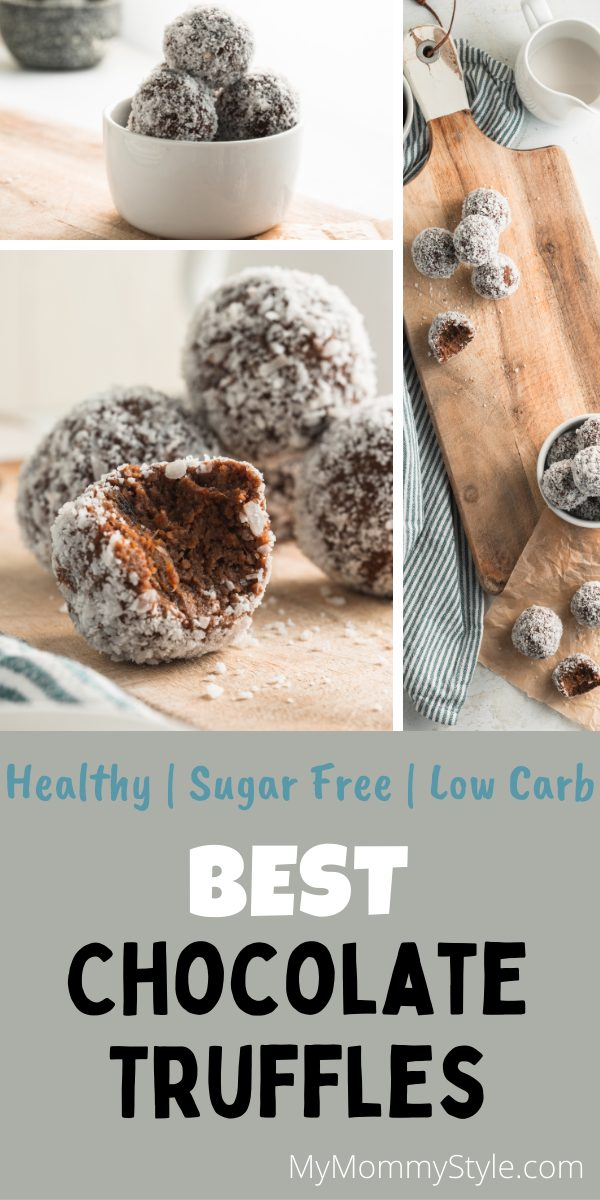 The Best Chocolate Truffles are creamy, soft and last in the fridge. They are naturally sweetened and great as a healthy snack or dessert. #bestchocolatetruffles #bestchocolatetrufflerecipe #healthychocolatetruffles via @mymommystyle