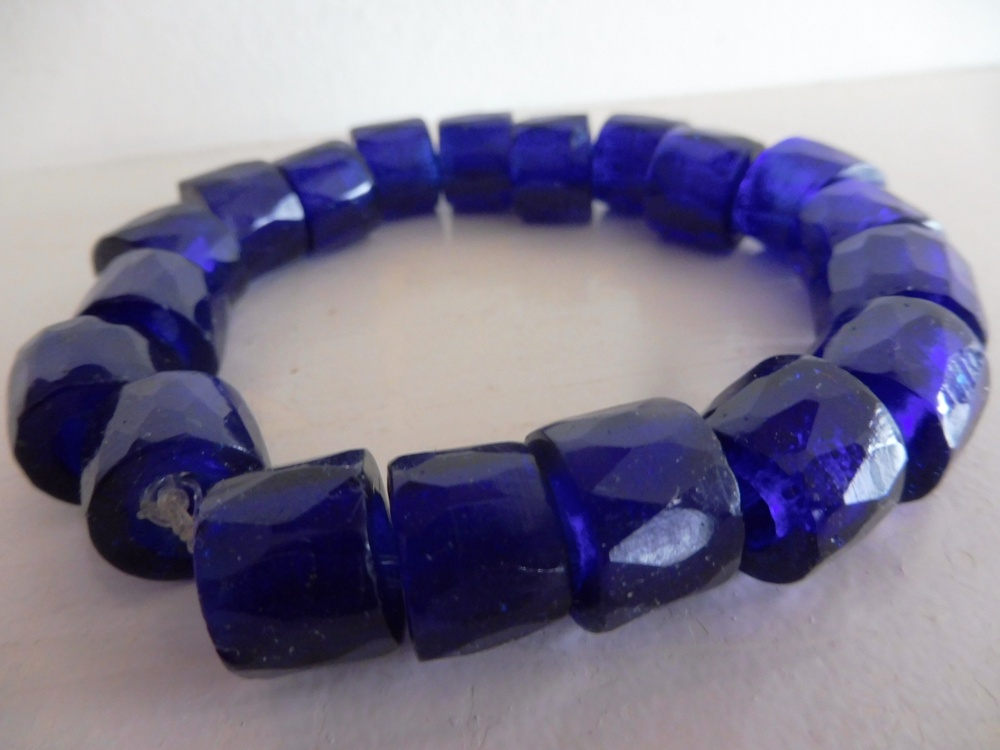 Russian Trade Beads Bracelet Cobalt Blue Thick My Mondo Trading First Nations Art Gallery
