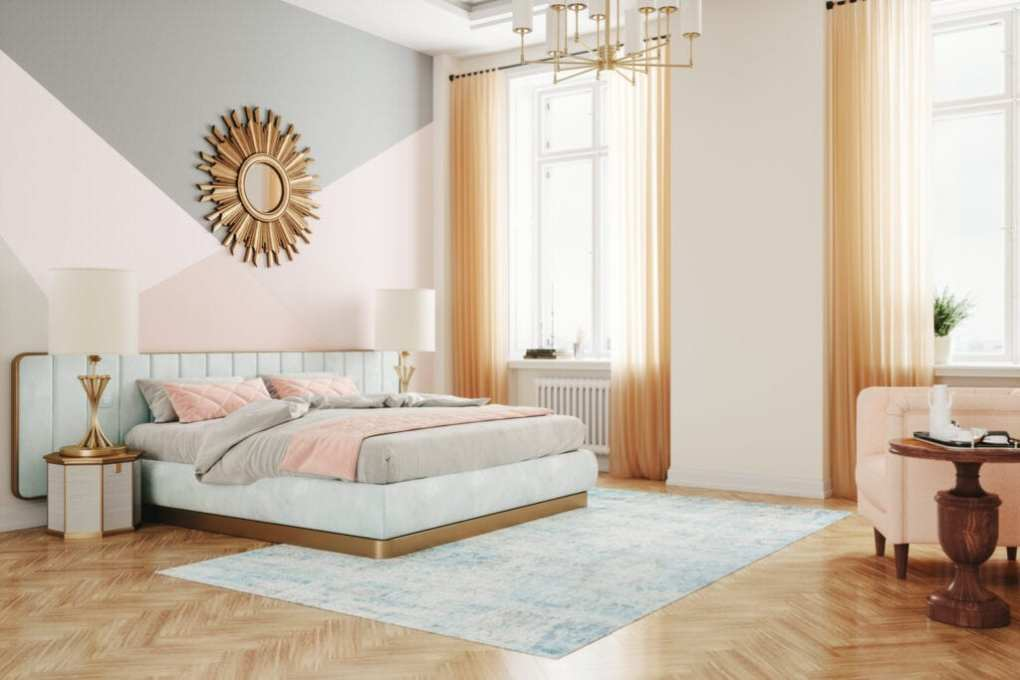 Interior of a luxury retro style bedroom in pink color.