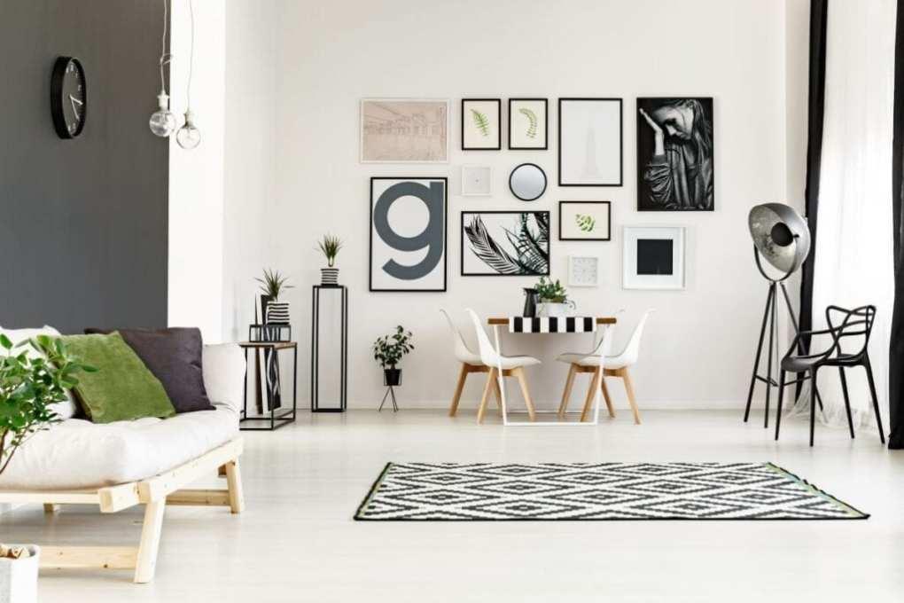 Modern gallery wall art above desk