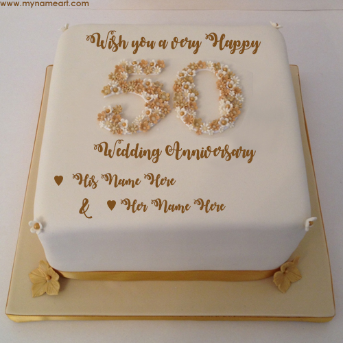 Write Parents Name On 50th Wedding Anniversary Wishes Cake Pics