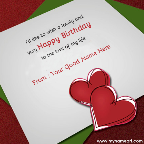Write Name On Birthday Wishes For Lover
