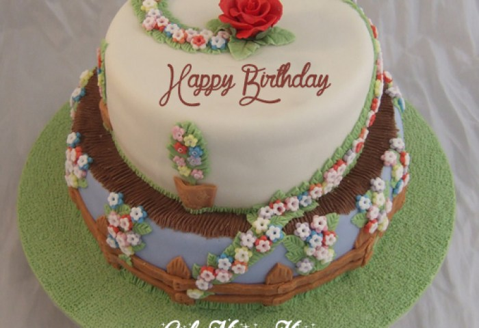 Floral Decorated Birthday Cake Image Editing With Girl Name Write