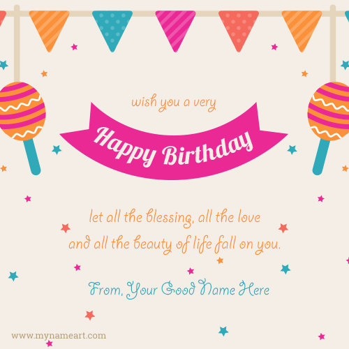 Wish You A Very Happy Birthday Greetings Card With Name Edit