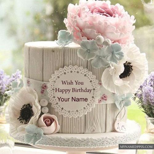 Write Name Beautiful New Birthday Cake Flowers Decoration Photos My Name Pix Cards