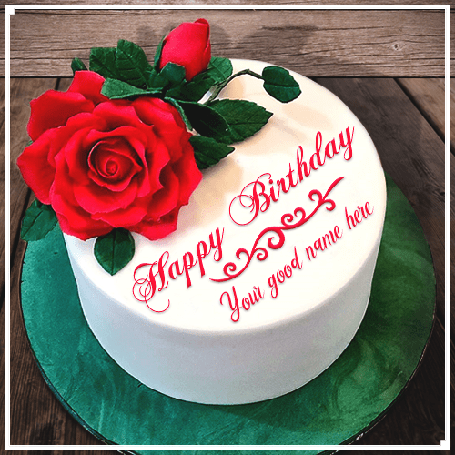 Red Rose Birthday Cake With Name