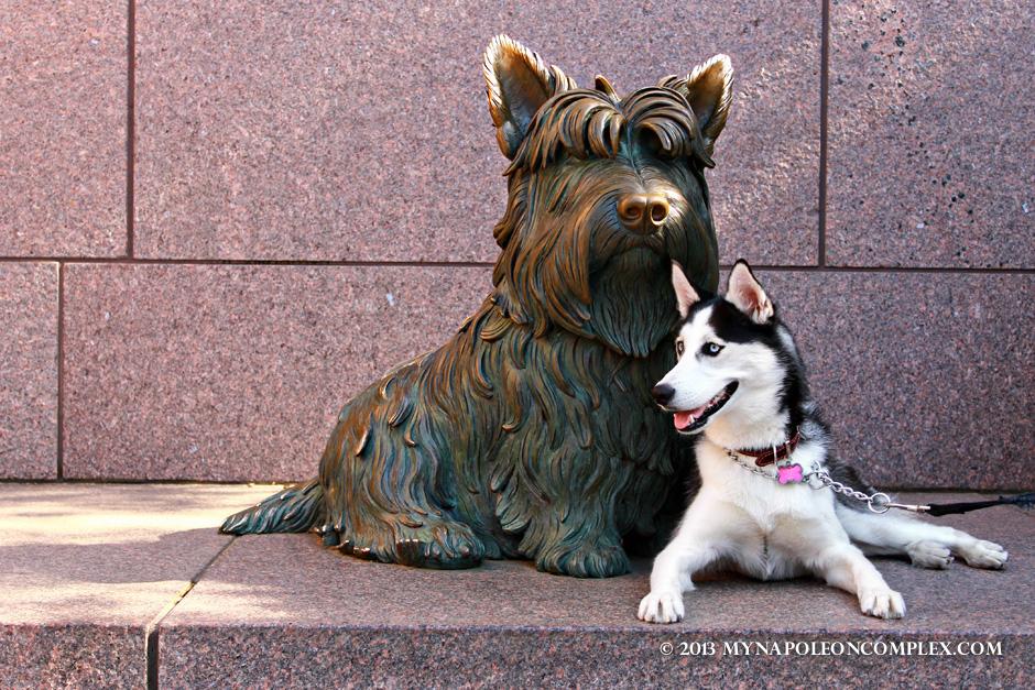 Statue of Fala, FDR's dog in Roosevelt Memorial.