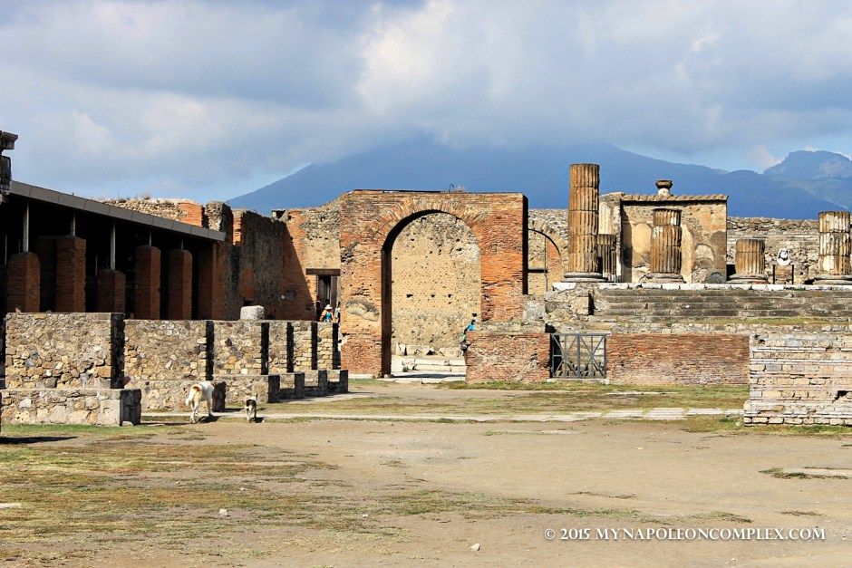 Picture of the forum at Pompeii with Mount Vesuvius in the background.