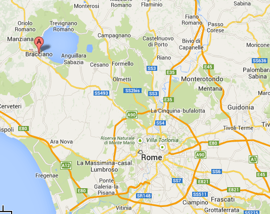 Location of Bracciano related to Rome on the map.