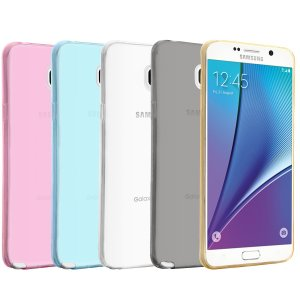 Galaxy Note 5 Case, 5 Packs EnGive [Ultra Slim TPU Case] Samsung Galaxy Note 5 Case [Transparent, Blue, Rose, Gold, Grey]