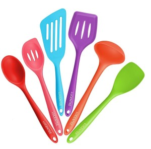 Lucentee® 6-Piece Silicone Cooking Set - 2 Spoons, 2 Turners, 1 Spoonula Spatula & 1 Ladle - Heat Resistant Kitchen Utensils (Multicolor)