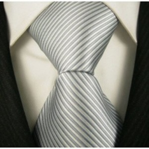 Scott Allan Men's Striped Necktie - Gray