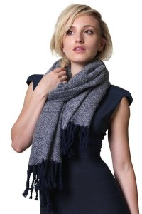Women's Chantal Chic Blanket Shawl Scarf Wrap with Tassels, Super Soft, Cozy & Comfy (2 Colors)