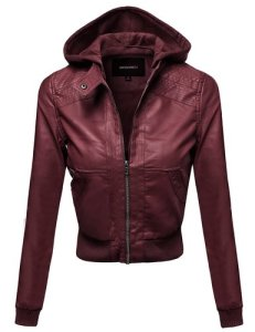 Awesome21 Women's Faux Leather Detachable Hood Biker Bomber Jacke