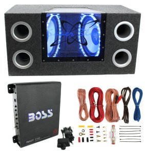 Pyramid BNPS122 121200W Car Audio Subwoofer + Box + 1100W Mono Amp + Amp Kit