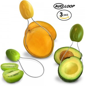 AvoLoop - Fast peel any fruit or soft vegetable with ease. Avocado Slicer Peeler Pitter Scooper, Mango Corer, Kiwi Fruit Scoop Kitchern Tool. EZ-clean 3 in 1 vegetable peeler set.