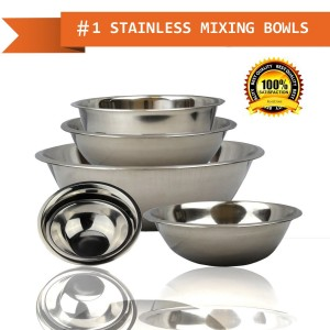 FineDine mb-3854 Curved Lip and Flat Base Stainless Steel Mixing Prep Bowl Kitchen Set, Mirror Finish, 6 Pieces