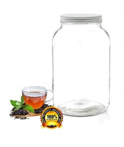 Pakkon Wide Mouth Glass Mason Jar with Metal LidFerment & Store Kombucha Tea or KefirUse for Canning, Storing, Pickling & Preserving Dishwasher Safe, Airtight Liner Seal, 1 gallon
