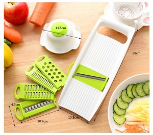 Xingzou® Creative Multi-Function Kitchen Tools - Fruits Vegetables Mandoline Slicer - Stainless Steel Blades Cutter Graters Julienne Slicers with Food Safety Holder 5 PcsSet - BPA-Free ABS Plastic