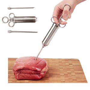 KevenAnna 2 Ounce Stainless Steel Meat Marinade Injector with Two Needles Meat Poultry Turkey Chicken BBQ Tool