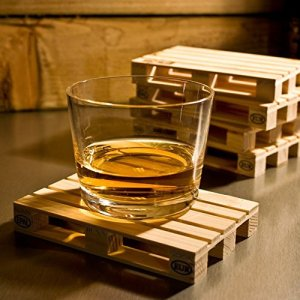 Set of 4 miniature pallet wood beverage coasters by J&Z. Drink coasters suitable for wine glasses, beer bottles, whiskey glasses and any hot and cold drinks.
