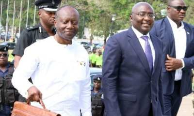 Vice President (right) and Ken Ofori-Atta (Left) in Parliament