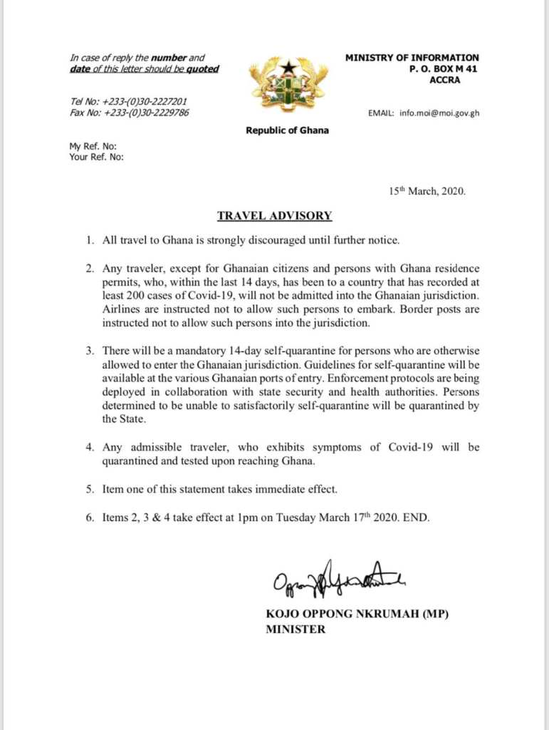 Ghana freezes inbound travels from COVID-19 hit China, Italy and MORE 1
