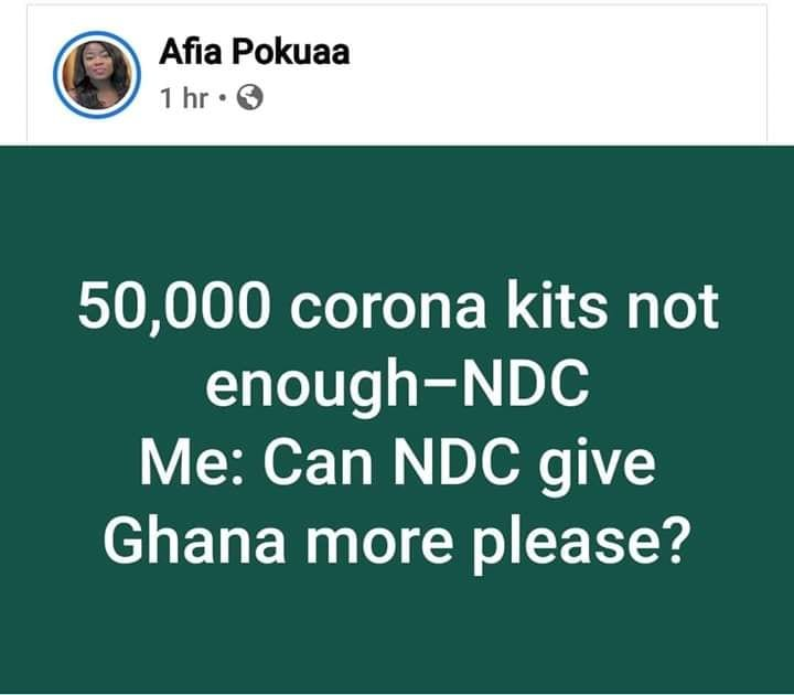 Provide more testing kits if Akufo-Addo's 50k isn't enough –Vim Lady Challenges NDC 1