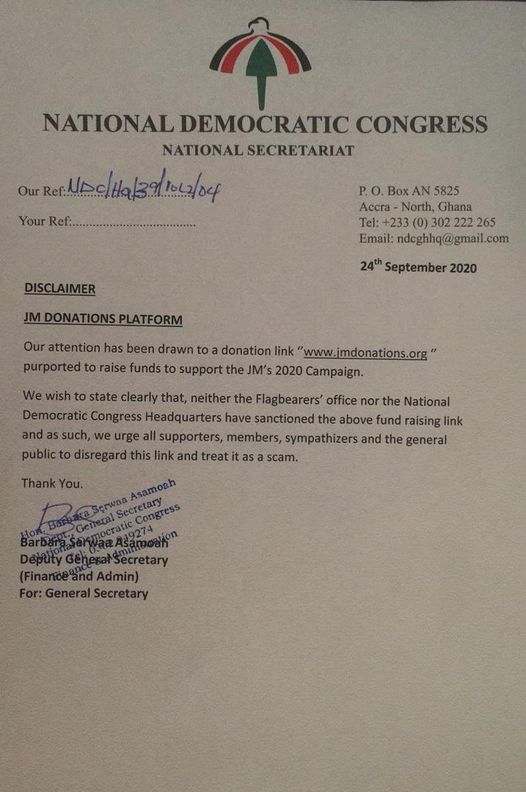 It's a scam – NDC cautions against fake fundraising website 1