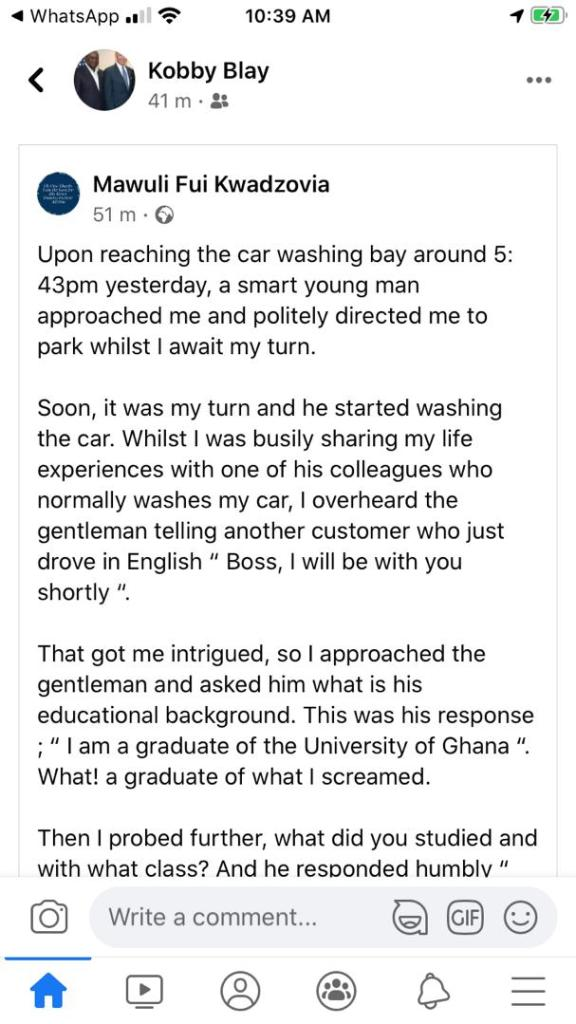 Sad: Top 2017 Legon Political Science graduate turns Washing Bay attendant 1