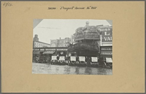 857 Prospect Avenue, the old Franklin Vaudeville Theater in 1927/NYPL Digital Collections