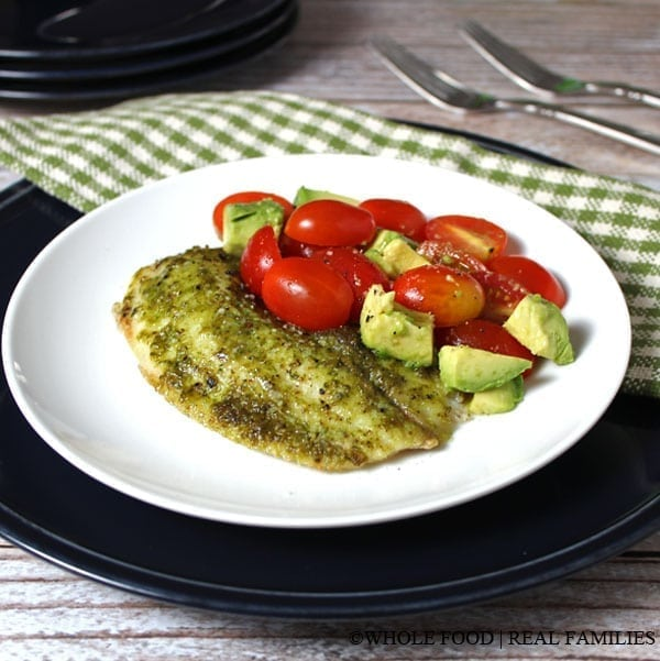 Tilapia with Classic Pesto. A clean eating, whole food recipe. No refined ingredients.