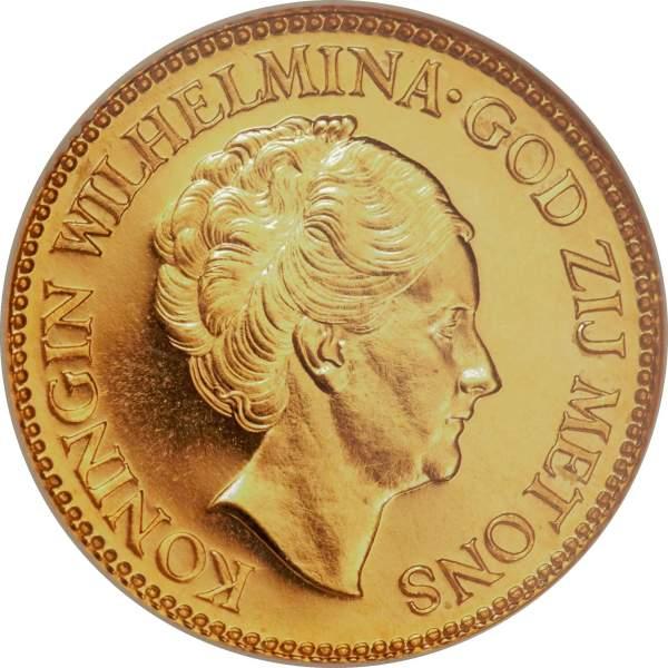 10 Gulden Vilhelmina guldmynt - Drottning av Nederländerna