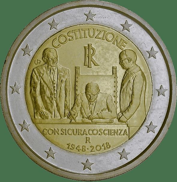 2 euro Italiens författning 70-årsjubileum