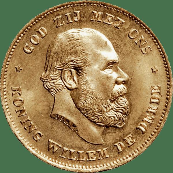 10 Gulden Vilhelm III guldmynt - Kung av Nederländerna