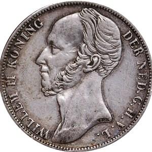 1 Gulden Vilhelm II silvermynt - Kung av Nederländerna