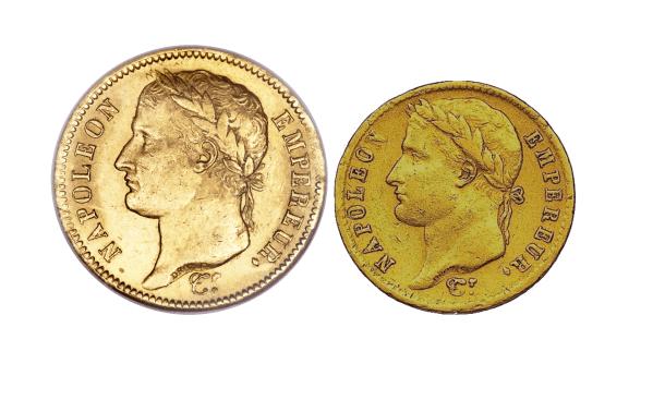 Samling i guld Napoleon I - 20 francs och francs
